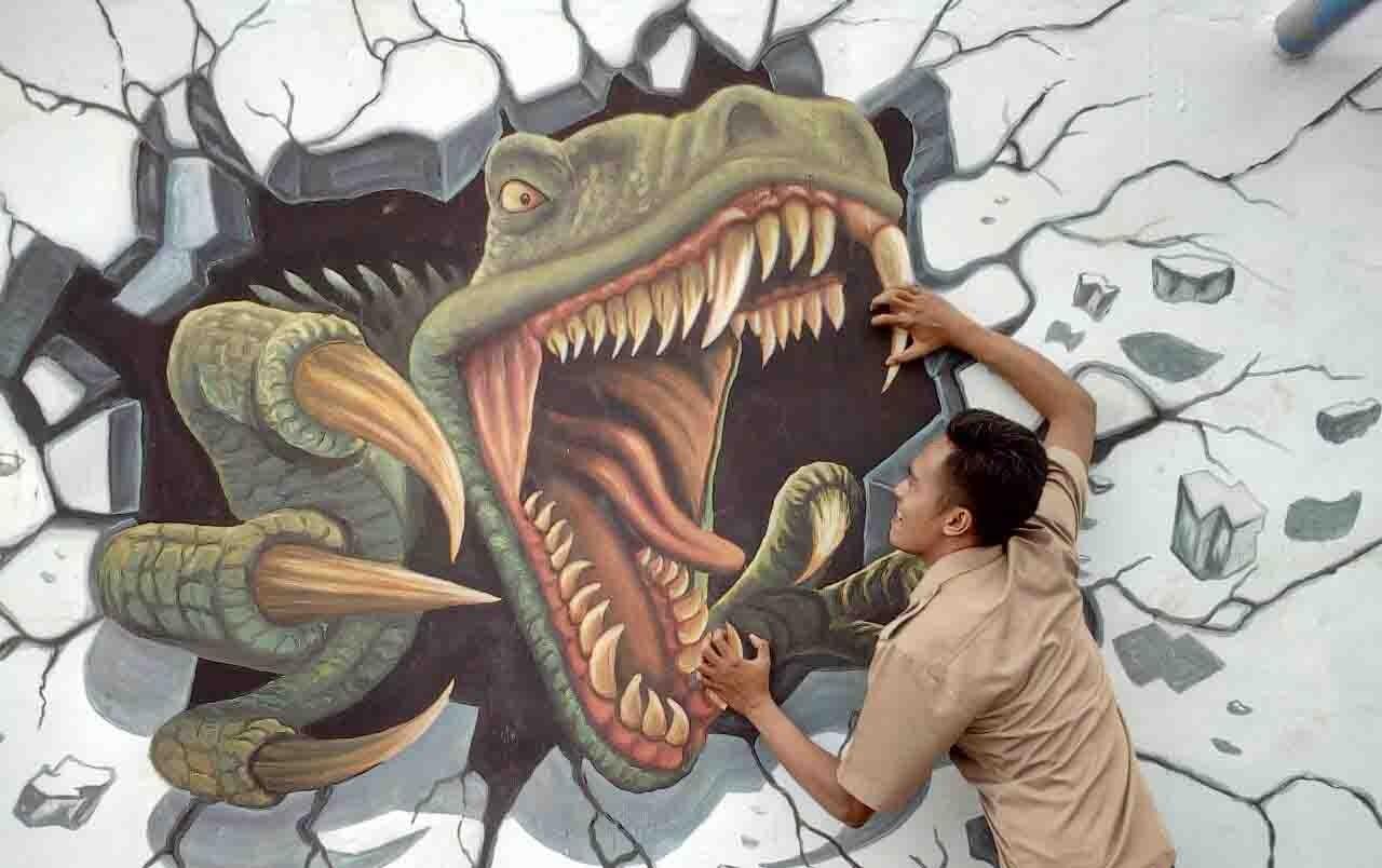 Lukisan 3d Art Di Desa Kedunglo Yang Menarik Perhatian Ratusan Orang