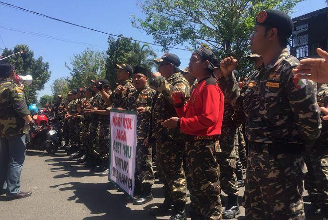 Kriminalisasi Dua Tokoh NU Wonodadi, Banser dan Ansor Gelar Aksi Damai